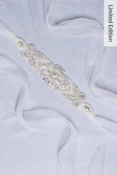 Bridal White Diamante Belt